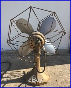 Antique 1930 16 Westinghouse ART DECO Octagon Cage Guard Table Fan Sculptured
