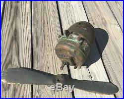 Antique 1930s 40s Airplane Fan Wooden Prop Air Circulator Ceiling Fan Industrial Antique