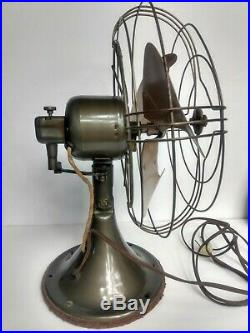 Antique 1930s General Electric GE Art Deco 2 peed rotation fan clean works 16