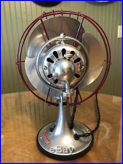 Antique 1934 GE 8 Quiet Blade General Electric 1 Speed Oscillator Fan RESTORED