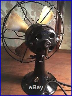 Antique 4 Brass Blade Oscillating Black 1920's Electric Dayton Ohio Fan-works