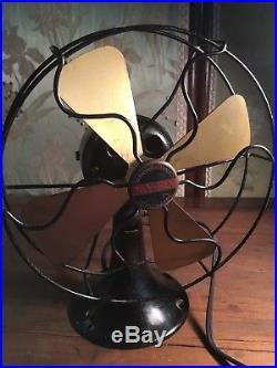 Antique 4 Brass Blade Oscillating Black 1920's Electric