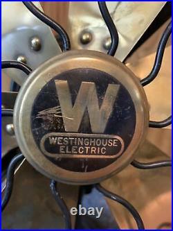 Antique 6 Brass Blade 12 Westinghouse Desk Fan (needs repair)