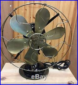 Antique 6 Brass Blade Brass Cage Fan R&M 1916 Robbins & Meyers Oscillating Fan