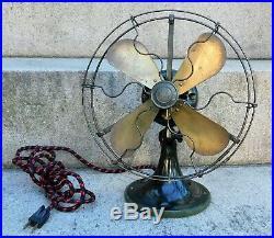 Antique 9 GE Whiz Electric Fan Vintage Old Brass Blades Runs Smooth