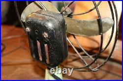 Antique Akro Agate Style Green Brown Swirl Slag Glass Base 2 Blade Fan WORKS