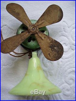 Antique Art Deco Akro Agate Marble Base Porcelain Enamel Table Fan 1920s 30s