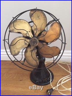 Antique Brass 6 Blade And Cage Oscillating 3 Speed Fan 13 Cage. Emerson 24666