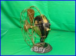 Antique Brass Blade & Cage GE General Electric Pancake 1898 Fan Fancy Base 125c