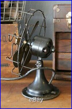 Antique Brass Blade Fan Sears & Roebuck 10 blades desk table top parts repair