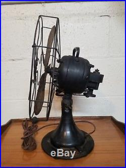 Antique Brass Blade The Peerless Electric Co. 12 in. Fan Works 3 Speeds