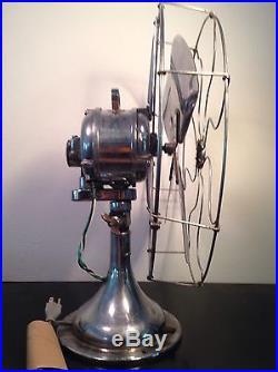 Antique CENTURY 16 Electric Hospital Fan Vintage Chrome Brass Patented 1914