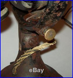 Antique Ca 1901 Hunter Eectric Fan No 18839 Kidney Oscillator Brass Blades Cage