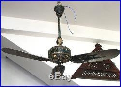 Antique Cast Iron 1930s Orient Ceiling Fan British India Period, Working Fan