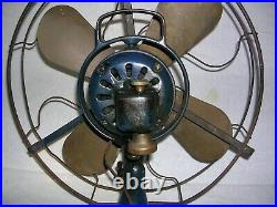 Antique Cast Iron GE General Electric 16 Oscillating Fan with 4 Brass Blades
