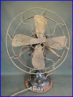Antique Century S3 Skeletal Brass Blade & Brass Cage Fan