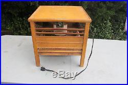 Antique DIEHL Wooden Floor Fan, End Table, Works Great, 3 Speeds (Light Wood)