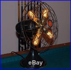 Antique Diehl Fan Lamp Steampunk Industrial Décor! Brass Hub