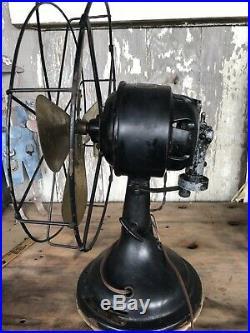 Antique Diehl Oscillating 3 Speed Fan Working Stunning Brass Blades Steampunk