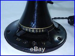 Antique EMERSON 95% RESTORED 12 Oscillating Fan 27666 6 Blade Parker Brass