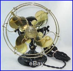 Antique EMERSON Restored 8 Pedestal Fan Brass Cage Black Body Model 11644 1910