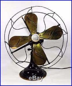 Antique Early 20th C Robbins & Myers 4 Brass Blade Oscillating Elec Pedestal Fan