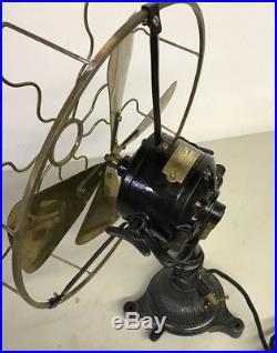 Antique Electric Bergmann Brass Cage Brass Blade Ornate Tripod Fan Germany