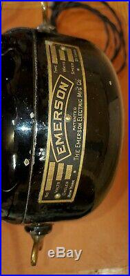 Antique Electric Fan 1912 Emerson 17666, Org Patina And Japanning Brass Blade