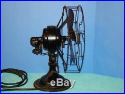 Antique Electric Fan 6 Brass Blade R&M 12 Oscillator Nice Old Original Vintage