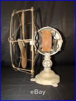 Antique Electric Fan Brass Blade 1903 Jandus Ball Motor early 30 Volt D. C. Power