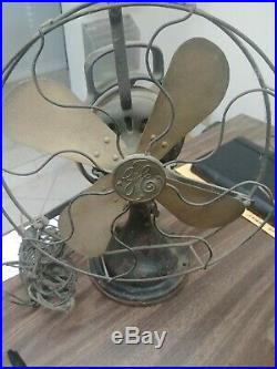 Antique Electric Fan Brass Blade GE Vintage Brass Cage Big Motor Yoke Farm Fresh