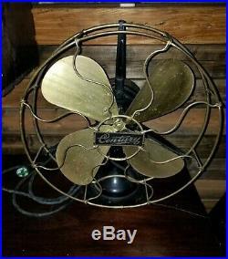 Antique Electric Fan Century Industrial Vintage Old model 100 3 speed 1914 brass