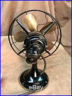 Antique Electric Fan Robbins & Myers 10 wide 5 blade brass blade desk fan