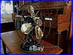 Antique Electric Fan Vintage Old Brass Robbins & Meyer