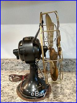 Antique Electric Westinghouse Fan Variable Speed Brass 6 Blade Working