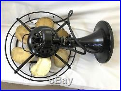 Antique Emerson 12 inch electric fan 6 wing Type 71666 vintage brass Works