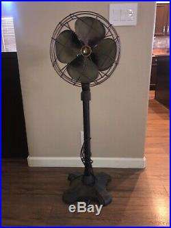 Antique Emerson 1940's Pedestal 77646-AW Cast Iron Pedestal Electric Fan Tall