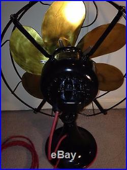 Antique Emerson 29668 desk fan brass bladed