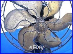 Antique Emerson 3- Speed 6 Brass Blade 12 Oscillating Fan