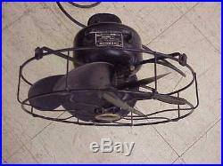 Antique Emerson 6 Black Bladed Model 71666 Oscillating 3 Speed Fan 13 Cage