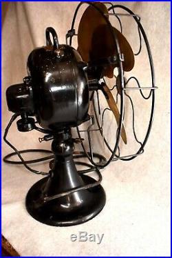 Antique Emerson 6 Brass Blade 3 Speed Oscillating Electric Fan Type 24666 Runs