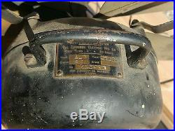 Antique Emerson 6 brass blade fan. K52497. Parts/repair. Hub damage. No cord