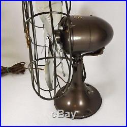 Antique Emerson 6250 K Reciprocating Fan Brass Blades Works Great Art Deco