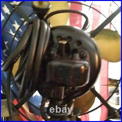 Antique Emerson 73646-ak Electric Fan 13 Brass Blade Cage 3 Speed Works