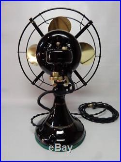 Antique Emerson 9 fan brass blade oscillating 3 speeds vintage 1922 restored