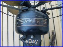 Antique Emerson Brass Blade Electric Fan 2210 Fancy Scalloped Base 55319 HTF USA