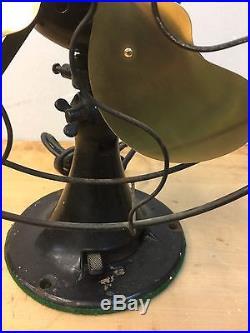 Antique Emerson Brass Blade Fan 29646 Circa 1920s Original Paint