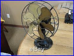 Antique Emerson Electric Brass 6 Blade No 4148 110 Volt 3 Speed Oscillating Fan