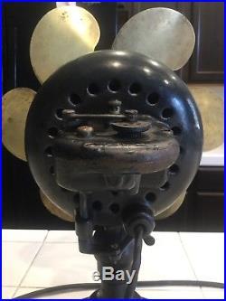 Antique Emerson Fan 16666 Early Parker 12 Brass Blade Oscillator Fan Rare