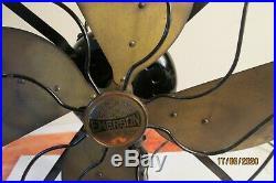 Antique Emerson Fan 4-Brass Parker Blade 16-in, 29648 3-spd Oscillating